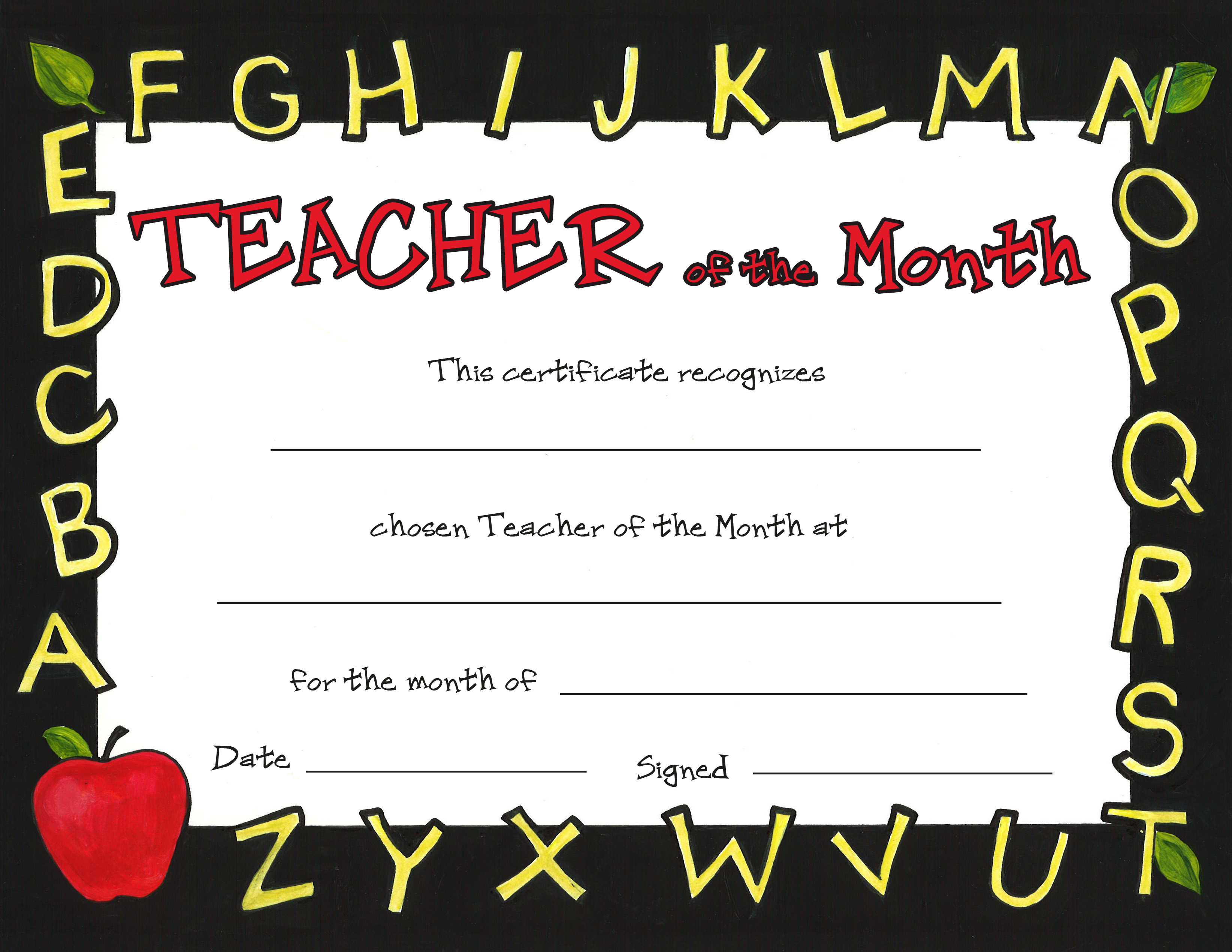 Teacher of the month for Teacher of the month certificate template