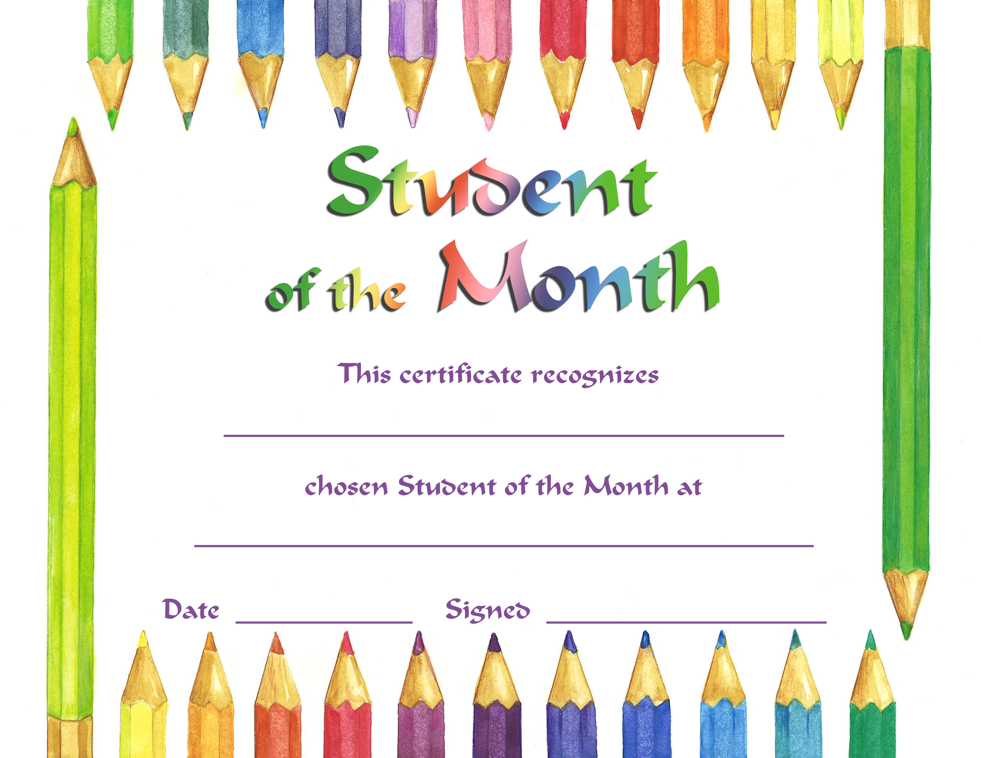 Star Of The Month Certificate Template
